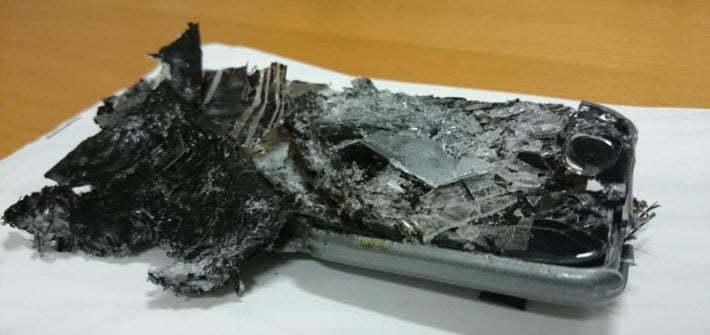 crushed mobile phone flight